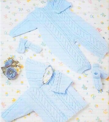 £2.63 • Buy #10 DK Baby Jacket, All-in-one Mitts & Bootees 14-20  36-51cm Knitting Pattern