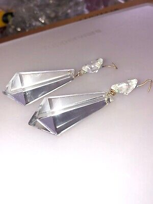 """$12.99 • Buy Antique Pair Of Triangular Tapered Icicle Chandelier Prisms Faceted Clear 2 1/8"""""""