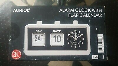 Stunning Retro Alarm Clock With Flap Calendar Brand New And Boxed White Frame  • 14.99£