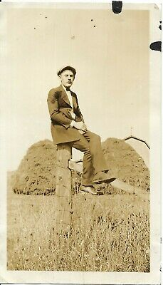 $6 • Buy Vtg Antique Photo Man In Suit Sits On Fence Post By Hay Pile Farm Barn In Back