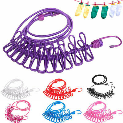 12× Colorful Spring Clip Cloth Washing Line Dryer Clothes Travel Camp Rope UK • 3.99£