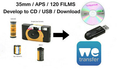 COLOUR FILM DEVELOP & 4.5Mb We Transfer/CD/USB - 35mm/120/APS  • 4.40£