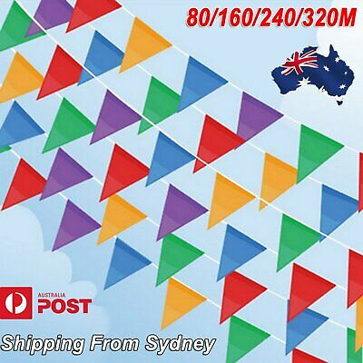 AU9.99 • Buy AU 80M-320M Colorful Bunting Triangle Flags Wedding Party Outdoor Banner Decor