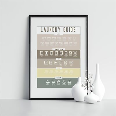 Laundry Room Wall Art Laundry Guide Washing Room Sign Scandi Print Laundry Print • 9.99£