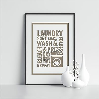 Laundry Sort Wash Laundry Room Prints Washing Room Sign Wall Art Laundry Quote • 14.99£