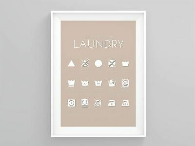 Care Symbol Guide Laundry Laundry Room Sign New Home Décor Minimalist Wall Art • 3.49£