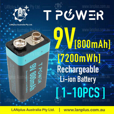 AU15.50 • Buy Tpower 9v Rechargeable Lithium Li-Ion Battery 7200mWh 800mAh For Smoke Alarm