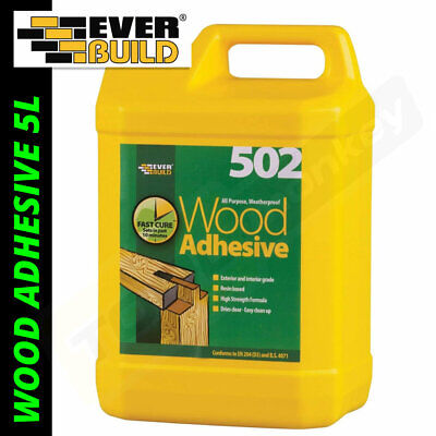 Everbuild Wood Glue Adhesive 502 5L - PVA Weatherproof Wood Adhesive 5 Litre • 16.25£