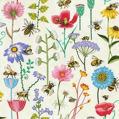 £12.99 • Buy Nutex Bee Haven Meadow Flowers On Cream Patchwork Quilting Dressmaking Fabric