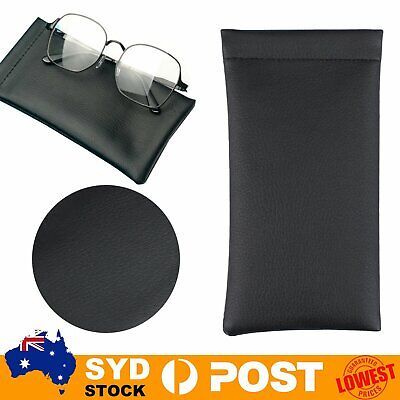 AU6.95 • Buy 2pc Faux Leather Sunglass Eyeglass Reading Glasses Case Soft Pouch Snap Shut Bag