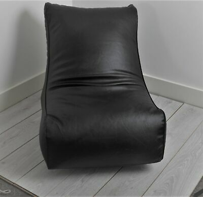 Faux Leather GAMING CHAIR BLACK Bean Bag / Seat / Gaming Chair-Generously Filled • 34.99£