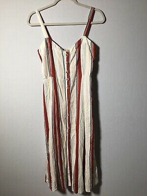 AU29.99 • Buy Pull And Bear Womens Linen Blend Striped Buttoned Dress Size M Sleeveless