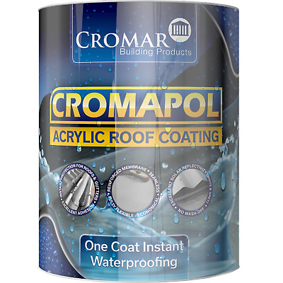 £28.99 • Buy Cromapol   Acrylic Roof Coat   Roof Paint Sealant   Multipack Offer   5kg Tins