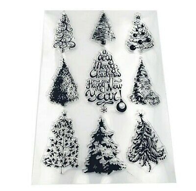 9 Christmas Trees Stamps-xmas Fir Tree Clear/transparent Stamp-sentiments-words • 5.50£