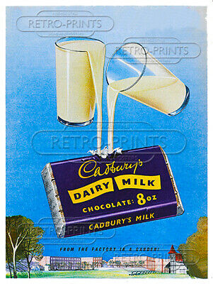 £4.95 • Buy CADBURYS DAIRY MILK Metal Wall Sign/poster Retro Advert/print Vintage Art