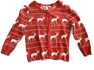 $9.99 • Buy Womens Reindeer Christmas Holiday Cardigan Sweater Size Small New