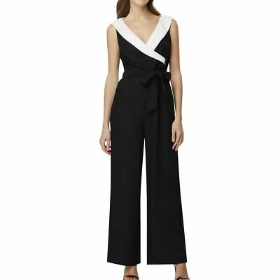 $59.99 • Buy TAHARI ASL NEW Women's Black/white Faux-wrap Tuxedo Belted Jumpsuit 4 TEDO