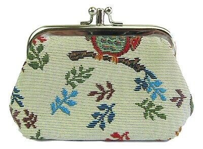 Owl Design Tapestry Double Coin Section Purse Signare • 5.34£