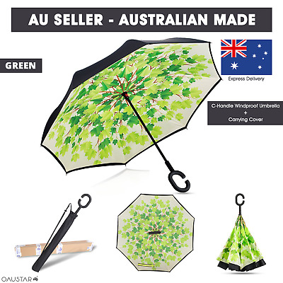 AU30.99 • Buy Upside Down Windproof Inverted Reverse C-Handle Folding Umbrella With Carry Bag