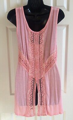 $8.89 • Buy ONE WORLD LET LIVE Tunic Top Embroidery Crochet Festival Boho Pink Small PS NWT