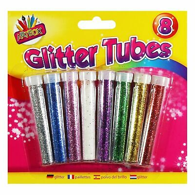 Glitter Tubes Kids Childrens Arts And Crafts 8 Metallic Colours - Free Postage  • 2.49£