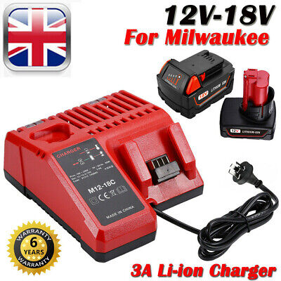 Rapid Battery Charger Replace Milwaukee M18 12V-18V Multi Voltage Dual M12-18C • 20.99£