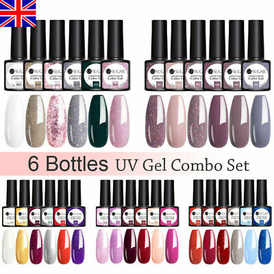 6 Bottles Combo Set UR SUGAR UV Gel Polish Top Base Matte Gel Nail Varnish 7.5ml • 3.49£
