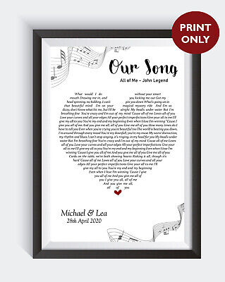 Personalised OUR SONG Lyrics Heart First Dance Wedding Anniversary Print Gift • 7.50£