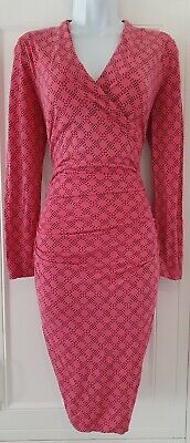 £29.99 • Buy Womens Boden Pink Spotty Crossover Ruched Stretch Jersey Bodycon Dress 10.