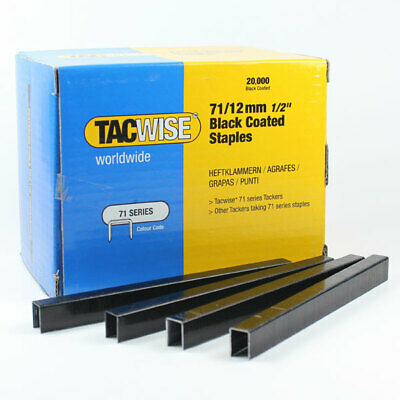 Tacwise Type 71  Box  20,000 Upholstery Staples 4mm - 16mm Galv Stainless Black • 49.99£