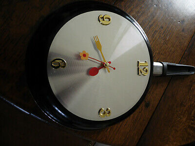 8'' Home Decor Kitchen Wall Clock Frying Pan Small Novelty Design • 12£