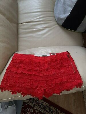 Zara Cotton Lace Summer Shorts Size UK8 • 10£