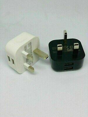 £3.75 • Buy 2 Port Usb Charger 3 Pin Mains Wall Plug Adapter Ce Approved Fast Dual Uk Stocks