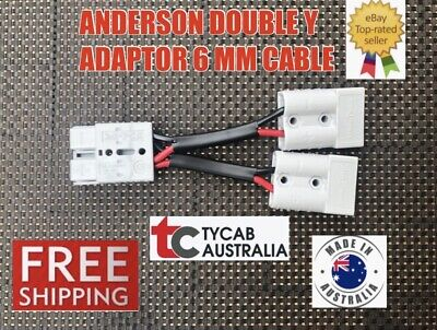 AU16.48 • Buy  Anderson Style Plug 50 Amp Connector Double Y Adaptor 6mm Auto Cable Solar