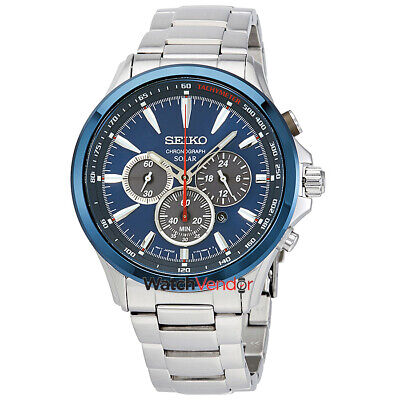 $ CDN288.99 • Buy Seiko Solar Chronograph Blue Dial Mens Watch SSC495