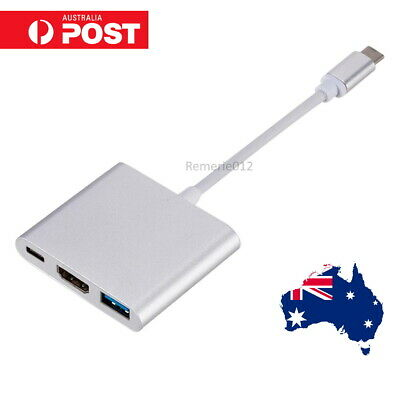 AU16.50 • Buy Type C To USB-C HDMI USB 3.0 Adapter Converter Cable 3 In 1 Hub For MacBook Pro