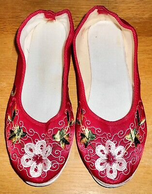 $12.99 • Buy BRAND NEW! Women SZ 8.5B CHINESE RED SILK SATIN EMBROIDERED FLORAL SLIPPER SHOES