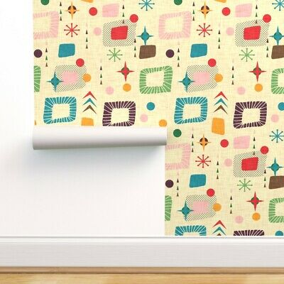 Removable Water-Activated Wallpaper Mid Century Modern Retro Atomic 50S Mod • 5.47£