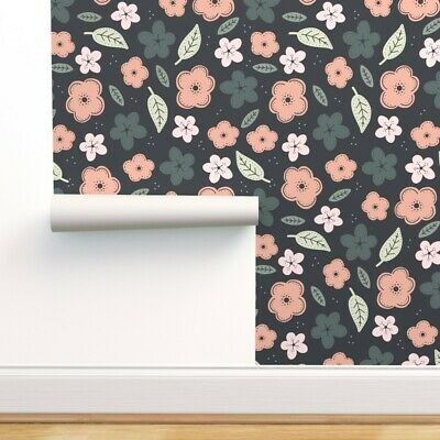 $23 • Buy Removable Water-Activated Wallpaper Floral Children' Nursery Room Baby Girl