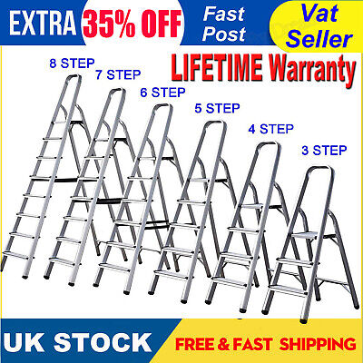 Aluminium Step Ladder 3 4 5 6 7 8 Step Non-Slip Stepladder DIY Tools Lightweight • 8.88£