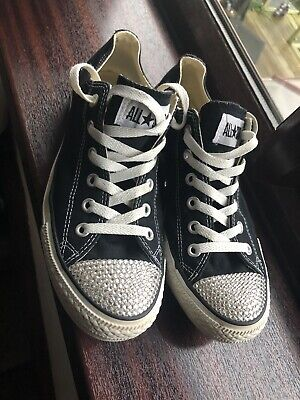 Converse All Star Lo Swarovski Crystal Pumps Trainers Sneakers Size Uk 7 • 39.99£