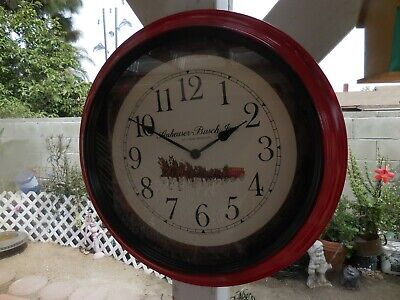 $ CDN73.16 • Buy Anheuser Busch Clydesdale Horses Wall Clock Quartz Mechanism 18  X 1 3/4  RED