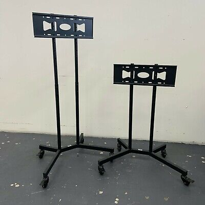 Pro Steel LED TV Floor Display Stand Trolley Wheels 2 Tier Shelfs For 32 - 65  • 45£