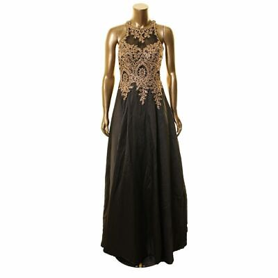 $54.99 • Buy XSCAPE NEW Women's Black Embroidered Mesh Illusion Ball Gown Dress 12 TEDO