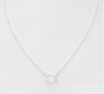 $ CDN25.89 • Buy 925 Sterling Silver Circle Luck Yoga Lotus Flower Chain Adjustable Necklace