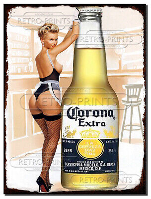 CORONA Pin Up Girl Vintage Retro Metal Wall Sign Plaque Man Cave Pub Bar Beer • 4.95£