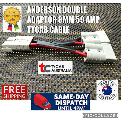 AU19.29 • Buy  Anderson Style Plug 50 Amp Connector Double Y Adaptor 8mm 59 AMP Auto Cable
