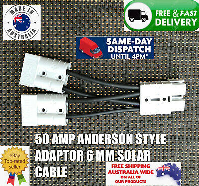 AU15.99 • Buy Anderson Style Plug 50 Amp Connector Double Y Adaptor 6 MM Solar Cable