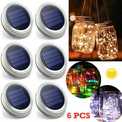 New Mason Jar Lid Fairy String Solar Powered LED Lights Lamp Garden Party Decor • 5.99£