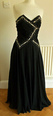£75 • Buy Vintage 1950's Faysey Black Embellished Strapless Full Circle Ball Gown Size  Xs